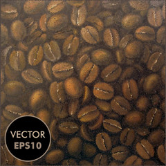 Vector Coffee Beans. Dotted Background. Dots Illustration. Halftone Background.