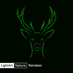 Reindeer silhouette of lights on black background