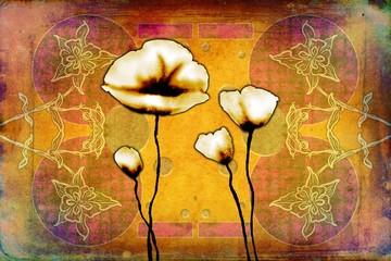 Fotobehang Roze abstraction flower art illustration