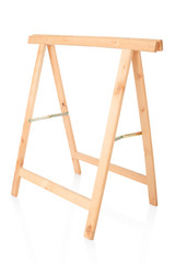 Sawhorse, DIY wooden tool isolated on white, clipping path