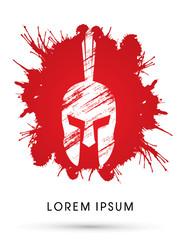 Roman or Greek Helmet , Spartan Helmet, Head protection, on splash blood background graphic vector
