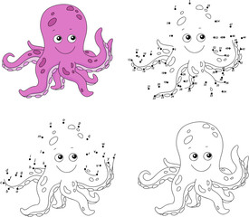 Cartoon octopus. Coloring book and dot to dot game for kids
