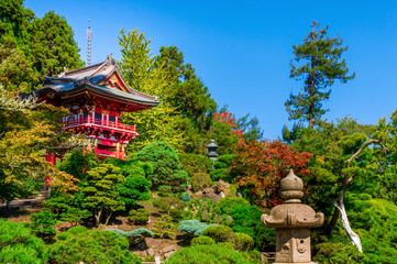 Pagode between beatiful and colorful plants in the Japanese Tea Garden in the Golden Gate Park in San Francisco