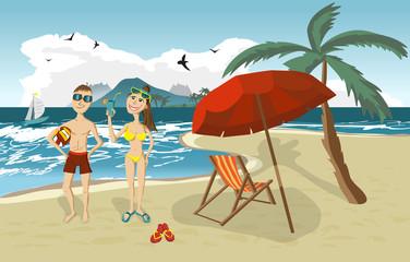 Sea landscape summer beach, palm tree, sun umbrellas, beach beds