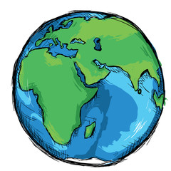 Vector Color Sketch Illustration - Globe