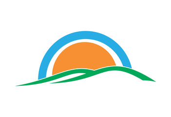 Sun on the background of green hills logo