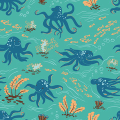 Octopus seamless pattern (underwater life)