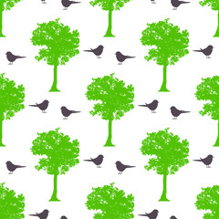 Seamless spring pattern with maple trees and birds