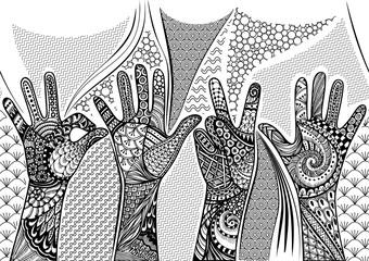 Zentandle gestures hands seamless border. Hand drawn doodle vector illustration.