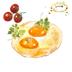 Breakfast. Watercolor drawing. Hot dish, fried eggs, greens, cherry.