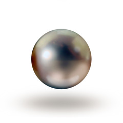 Tahitian dark grey single pearl isolated on white background no drop shadow