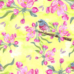 Flowers pattern.  Springtime. branch of Apple. the Apple tree. Watercolor painting