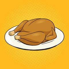 Fried chicken food pop art style vector