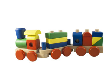 Children colored wooden train with carriages