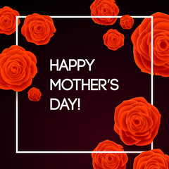 Happy Mothers Day Beautiful Blooming Red Rose Flowers on Dark Background. Greeting Card