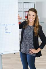 motivierte mitarbeiterin steht am flipchart im büro