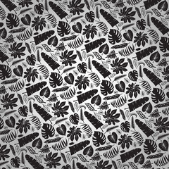 Tropical leaves,branches pattern backdrop.Black