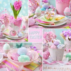 easter collage with pastel color decorations