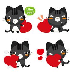 ネコとーく。黒トラ ハート