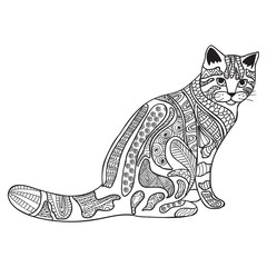 Cat Black and white doodle print with ethnic patterns.
