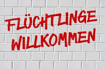 Graffiti - Flüchtlinge wilkommen