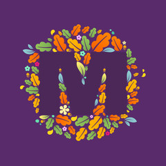 M letter logo in a circle of oak leaves and acorns.