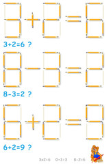Logic puzzle. In each task move 2 pencils to make the equations correct. Vector image.