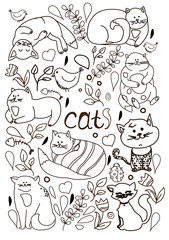 monochrome floral print of cats in different poses, contour postcard, drawing a line from the hand on white background