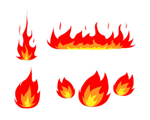 Fire Icon Set, a hand drawn vector illustration set of fire and flames, perfect for your project's decoration.