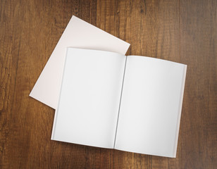 Blank catalog, magazines,book mock up on wood background