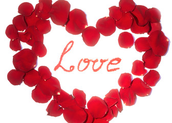 Beautiful symbol of heart of red rose petals isolated on white with Love word in the center. Valentines day card
