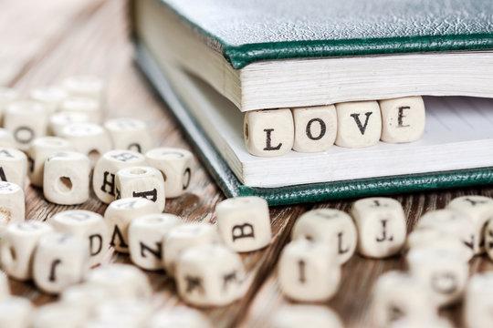 Word LOVE written on a wooden block.