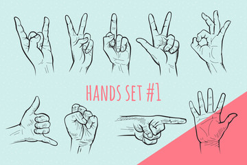 Vector hand gesture set. Pencil drawn sketch.