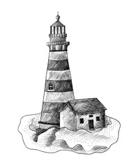 Lighthouse on the hill. Black and white illustration. Tattoo