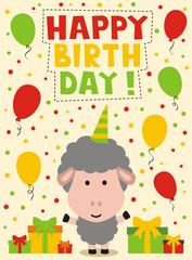 happy birthday card, funny little sheep