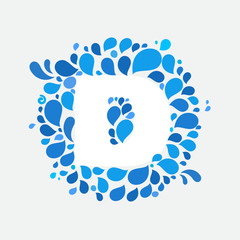 D letter in a circle of splashes and drops of water.