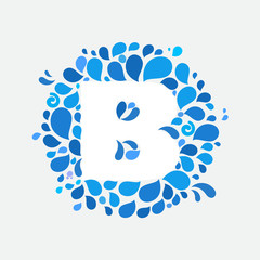 B letter in a circle of splashes and drops of water.