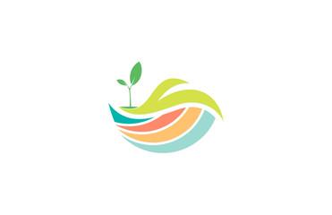 landscape colorful tree eco logo