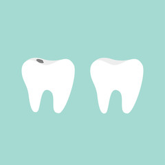 Tooth icon. Healthy and bad ill tooth with caries. Oral dental hygiene.  Children teeth care. Tooth health. Blue background. Flat design.