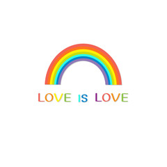 Rainbow on white background.  Love is love text quote. Greeting card.  LGBT community. Flat design.