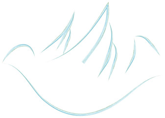 Holy Spirit symbol dove. Abstract watercolor vector illustration