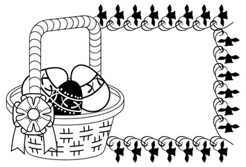 Silhouette with outline image of Easter basket