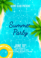 Summer party flyer. Beautiful background on the sea topic with sea shore, sea water and palm trees. Vector illustration.