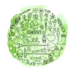 Spring garden doodles in circle.Watercolor greeen splash