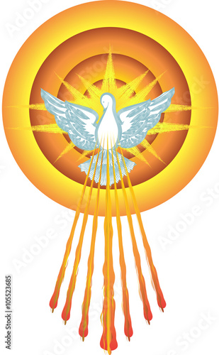 Holy Spirit symbol dove with halo and seven rays of fire, symbols of