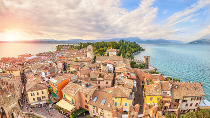 Panoramic aerial view on historical town Sirmione on peninsula in Garda lake, Lombardy, Italy Wall mural