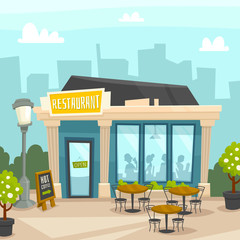 Restaurant building exterior with cityscape, front view, cartoon vector illustration