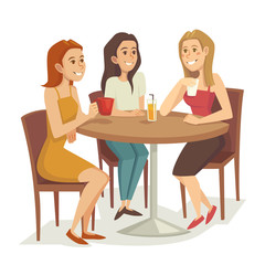 Three women drinking coffee and tea at the restaurant or cafe, cartoon vector illustration
