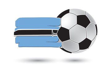 Soccer ball and Botswana Flag with colored hand drawn lines