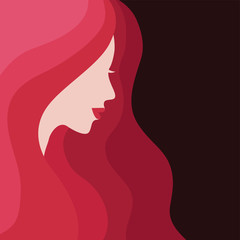 Vector illustration of Woman's silhouette with beautiful red hair